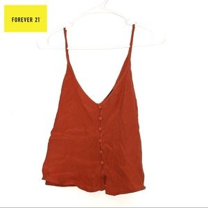FOREVER 21 Rust Crop Top with Buttons